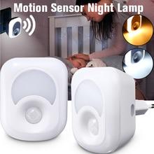 Luz LED nocturna con Sensor de movimiento PIR, luz activada infrarroja humana, lámpara de emergencia de pared, lámpara de pared enchufable para dormitorio