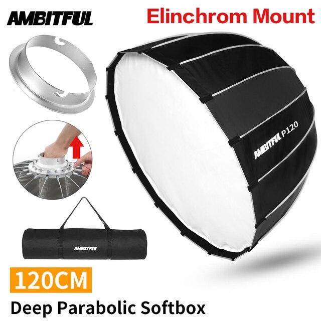 AMBITFUL ポータブル P120 120 センチメートルすぐに高速インストール深い放物線ソフトボックス Elinchrom マウントフラッシュスタジオソフトボックス