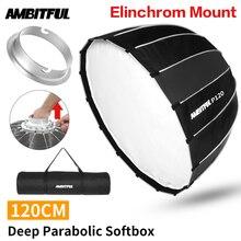 Difusor de luz portátil, P120 120CM, de rápida instalación, caja de luz parabólico montaje para Flash Elinchrom, caja de luz para estudio