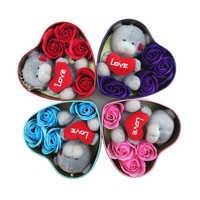 Oso de peluche hecho a mano con corazón, peluches de animales pequeños, caja de regalo, regalos de San Valentín, cumpleaños y Navidad