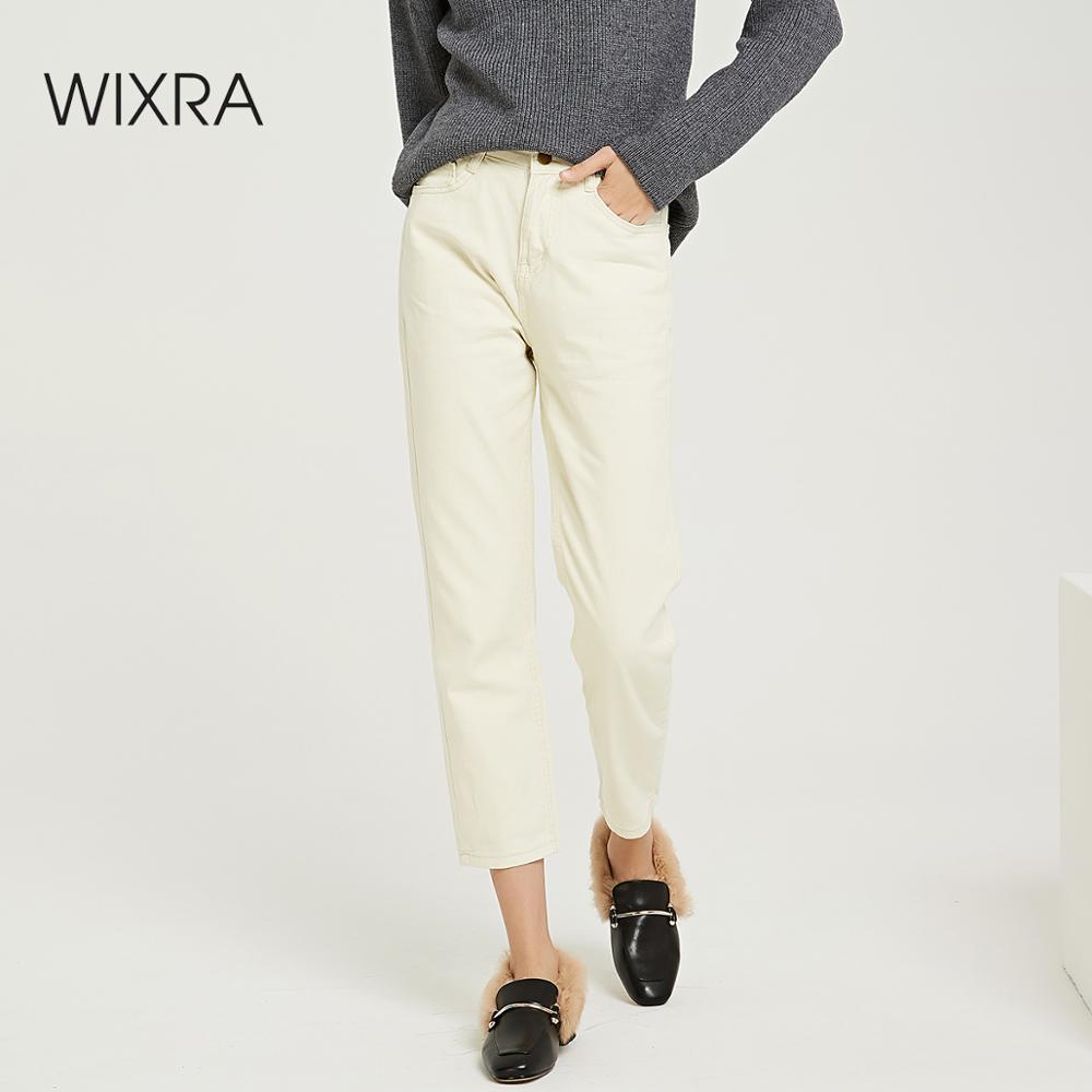 Wixra 2019 New Stylish Solid Straight Pants High Waist Pockets Basic Denim Trousers Spring Autumn Ladies Bottom