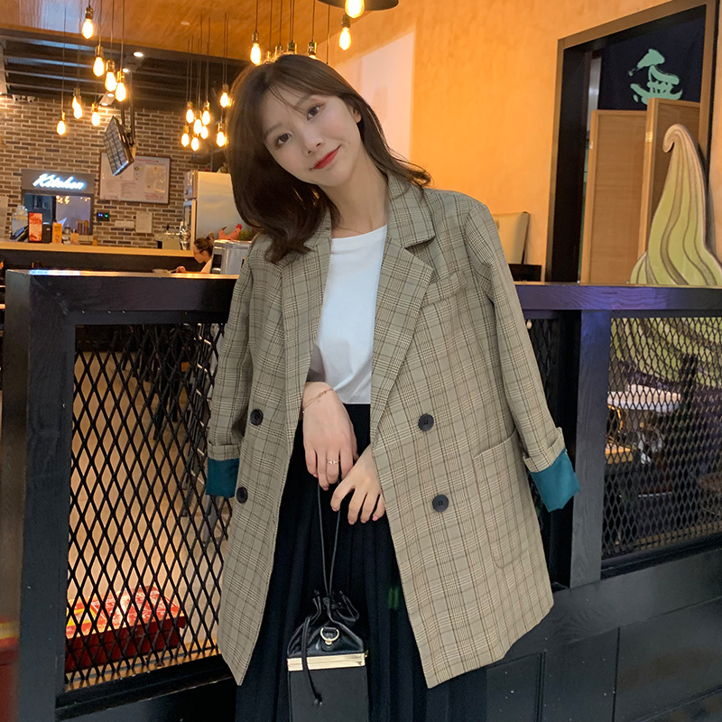 High Quality Ladies Long Jacket Tops Feminine 2020 Spring And Autumn Casual Plaid Ladies Blazer Coat Fashion Loose Small Suit
