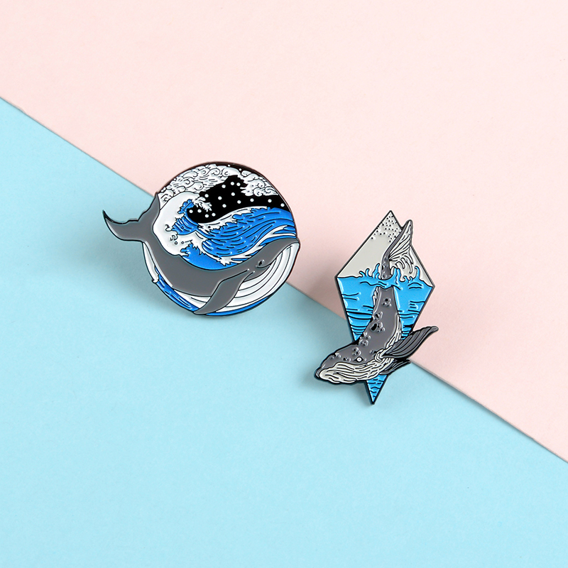 Cartoon <font><b>Whale</b></font> and Ocean Enamel Pins Custom Marine Animal Brooches Blue Deep Sea Button Badge Freedom Jewelry Gift for Friends image