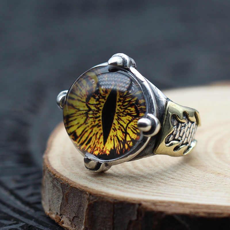 ชาย Vintage ธรรมชาติ Topaz หินแหวนแฟชั่น 925 เงินสเตอร์ลิงปรับแหวนสำหรับผู้ชายงานแต่งงานแหวนหมั้น