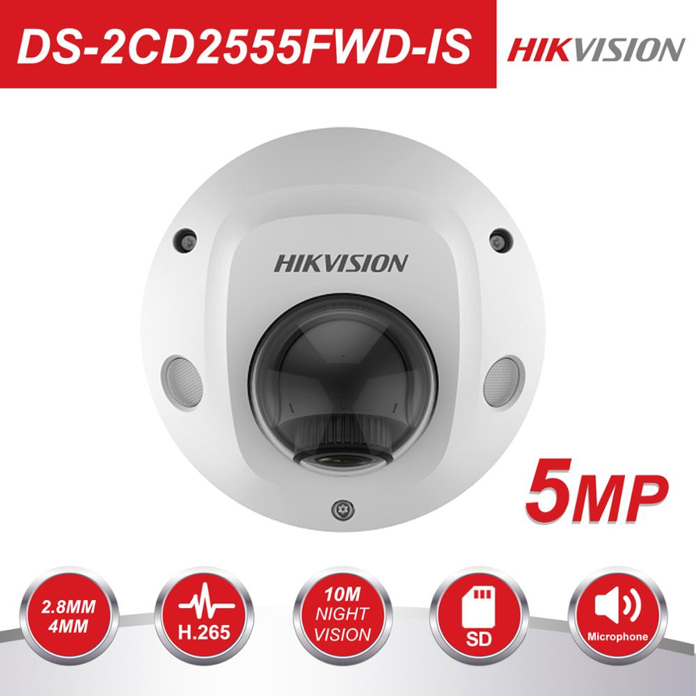 Hikvision Video Surveillance Camera Outdoor DS-2CD2555FWD-IS 5MP IR Mini Dome Security IP Cameras POE H.265+ Built-in Micro
