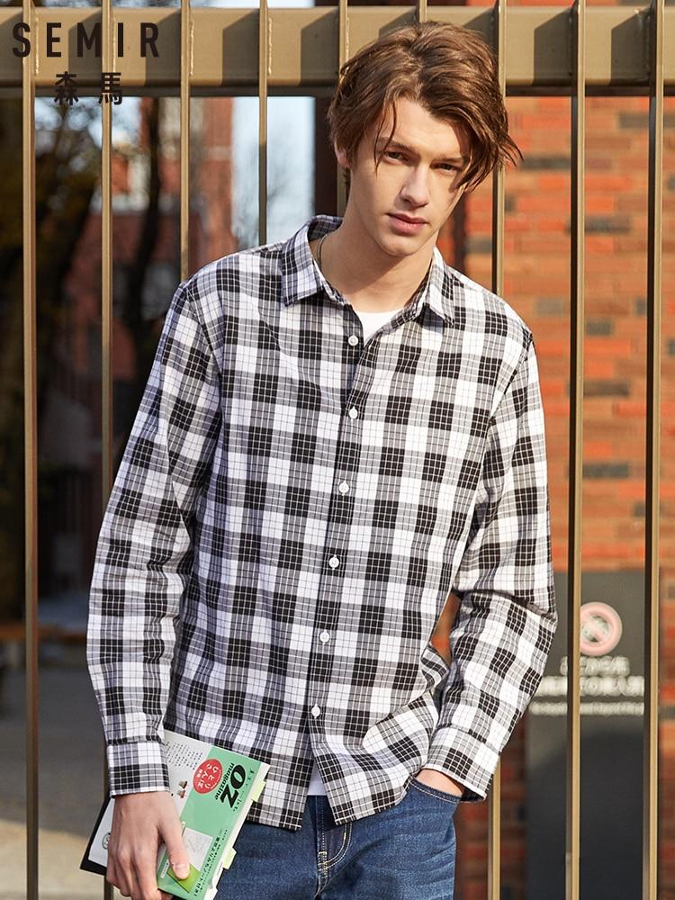 Semir Shirt Men Long Sleeve Spring And Autumn Lapel Cotton Shirt Students Korean Version Plaid Shirt Inch Men 2019 New