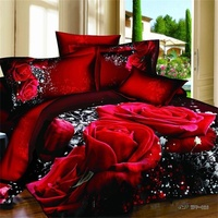 3d Red Rose Bedding Set Queen King Size Big Floral Print Duvet Cover Bed Sheets Pillowcase Home Textiles