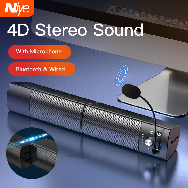 Computer Speakers Detachable Bluetooth Speaker Bar Surround Sound Subwoofer For Computer PC Laptop USB Wired Dual Music Player 1