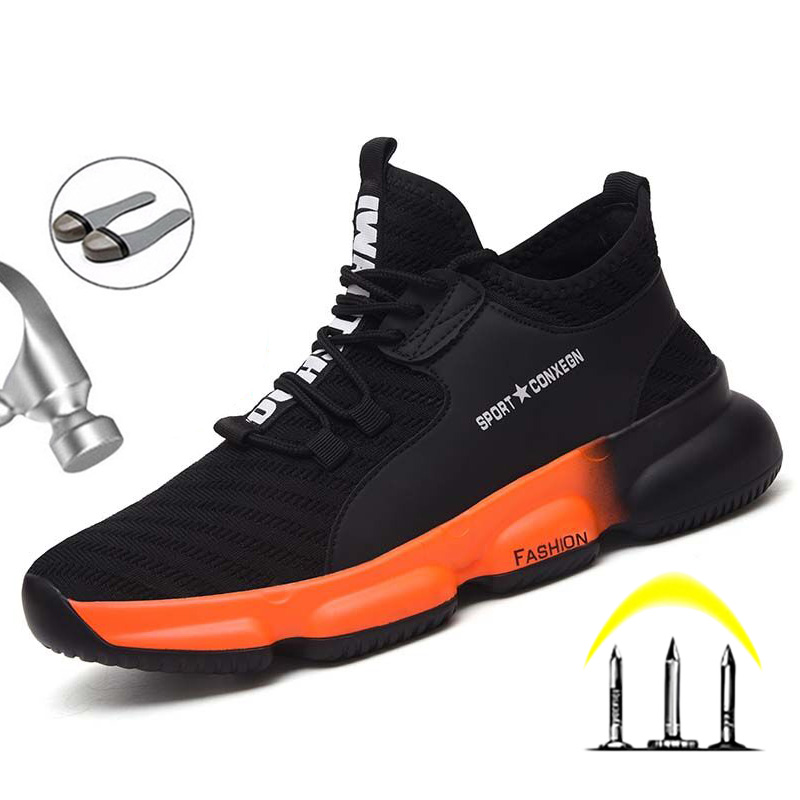 New Safety Shoes Boots For Men Steel Toe Shoes Anti-Smashing Construction Work Safety Boot Breathable Safety Shoes Men Footwear