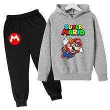 Super Mario bambini Casual pullover maglione camicia + pantaloni ragazzo ragazza abbigliamento per cartoni animati