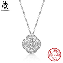 Flower Necklace Chain Fine-Jewelry Clover Pendant 925-Silver 45cm for Woman Birthday-Gift