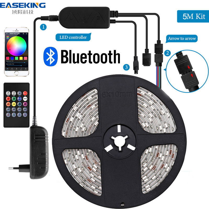 LED Strip 5m RGB 5050 Bluetooth white LED Light Strip for room LED Lights RGB Tape Backlight Ribbon Led strip 12v music sync image
