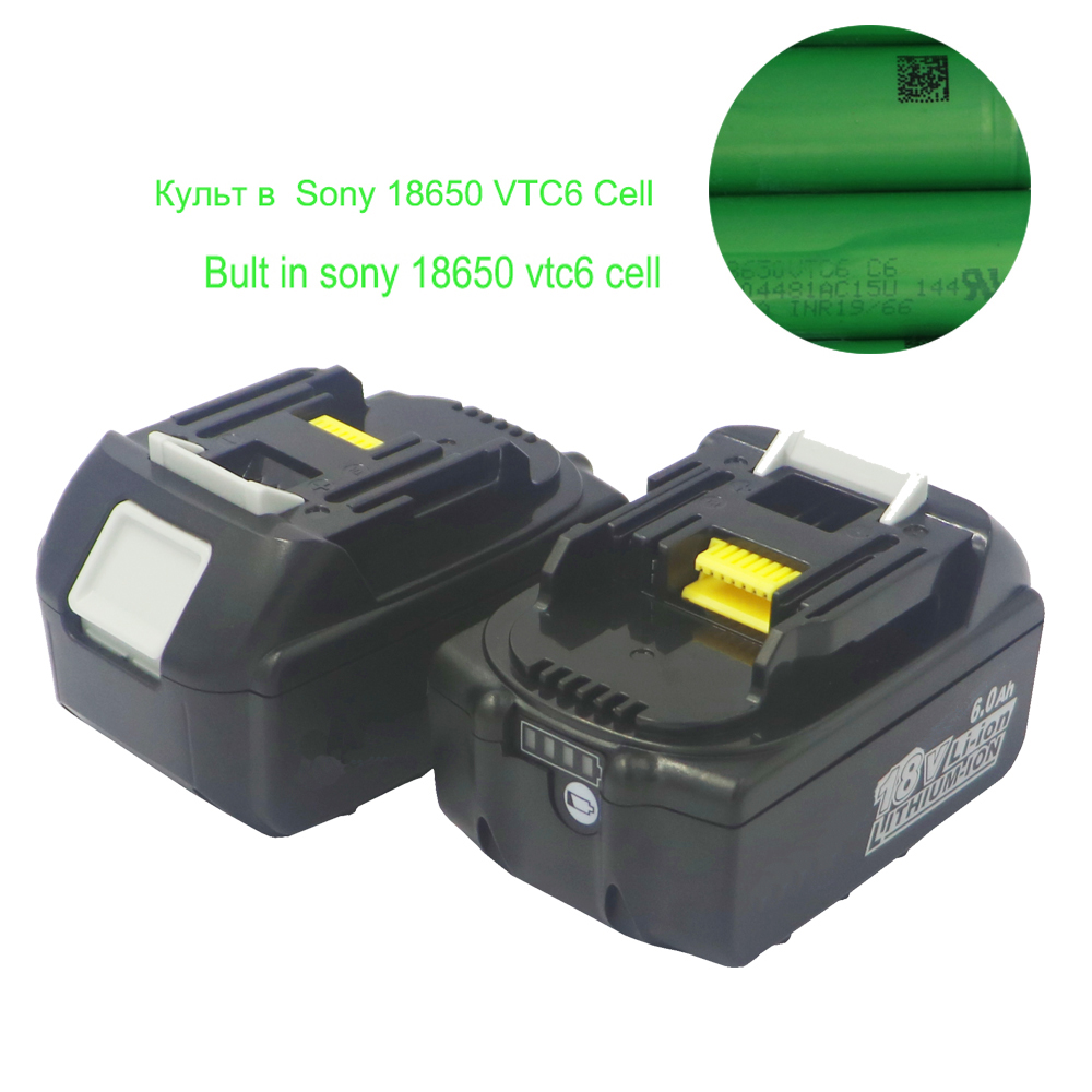 Dvisi 2pcs/lot 18V <font><b>6000mAH</b></font> lithium <font><b>battery</b></font> for Makita BL1860 BL1840 BL1830 with lcd light Built in 10Pcs Sony <font><b>18650</b></font> VTC6 image