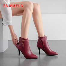 ENMAYLA 2019 Thigh High Boots Basic PU Slip-On Ankle for Women Winter Pointed Toe Short Plush Solid Size 34-43
