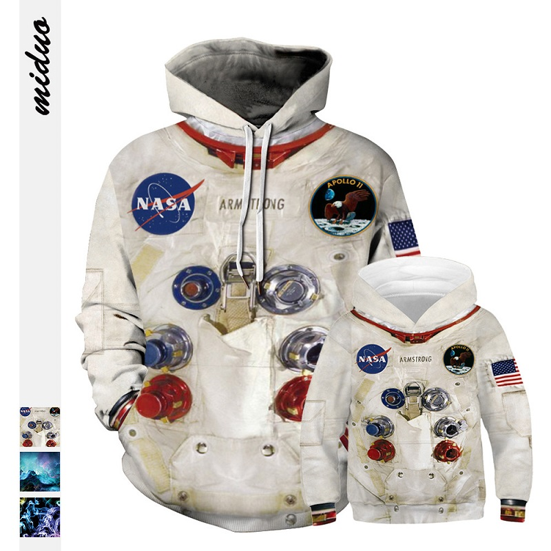 Daddy Son Sweaters Father And Kids Baby Boys Hoodies Family Look Astronaut Universe Space Clothes Family Matching Sweatshirts