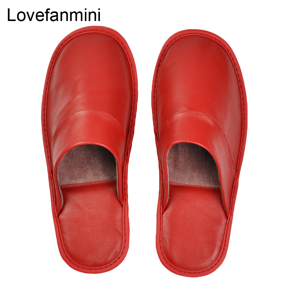 Image 4 - Genuine Sheepskin Leather slippers couple indoor non slip men women home fashion casual single shoes PVCsoft soles spring summerSlippers   -