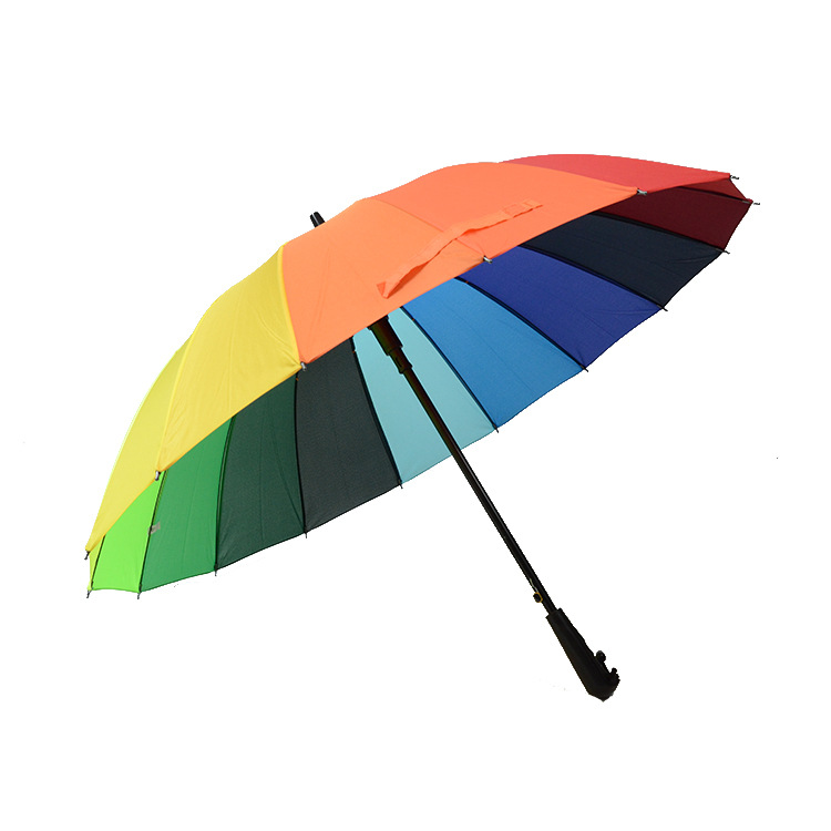 Currently Available Safeness Life Insurance 55cm16 Bone Straight Umbrella Black And White With Pattern Rainbow Umbrella 16K Long