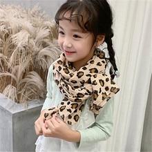Cotton and linen scarf baby leopard print children new winter joker babys