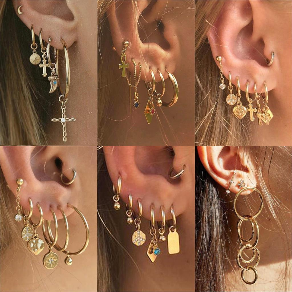 Bohemian Gold Crystal Pearl Earrings Set Women Heart Moon Star Cross Geometric Feather Female Earring Vintage Fashion Jewelry