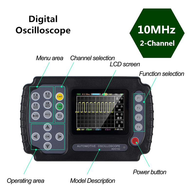 Digital <font><b>Oscilloscope</b></font> With Probe USB portable Digital <font><b>Oscilloscope</b></font> <font><b>10MHz</b></font> Bandwidth 100MSa/s With Housing Handheld Portable ADO102 image