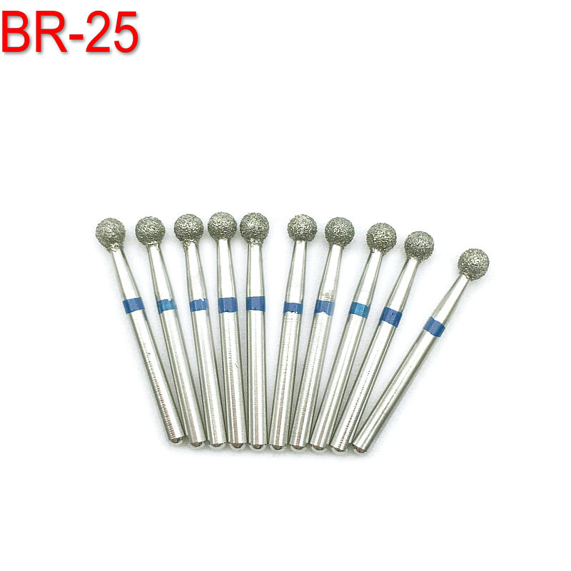 10pcs Dental Laboratory Diamond Burs Drill FG 1.6mm Dia- Burs Drills For High Speed Handpiece Medium BR-25