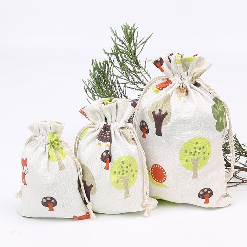 Imitation Linen Wedding Christmas Gift Bag 13 * 18cm Jewelry Candy Small Drawstring Bag 50 Pcs
