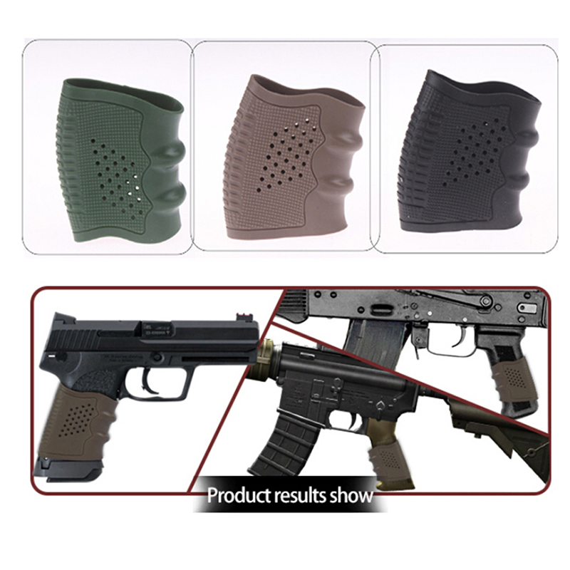 Universal Rubber Sleeve Handgun Military Accessory Sleeve Anti Slip Airsoft Shooting Hunting Black Gun Grip Glove Protect Cover