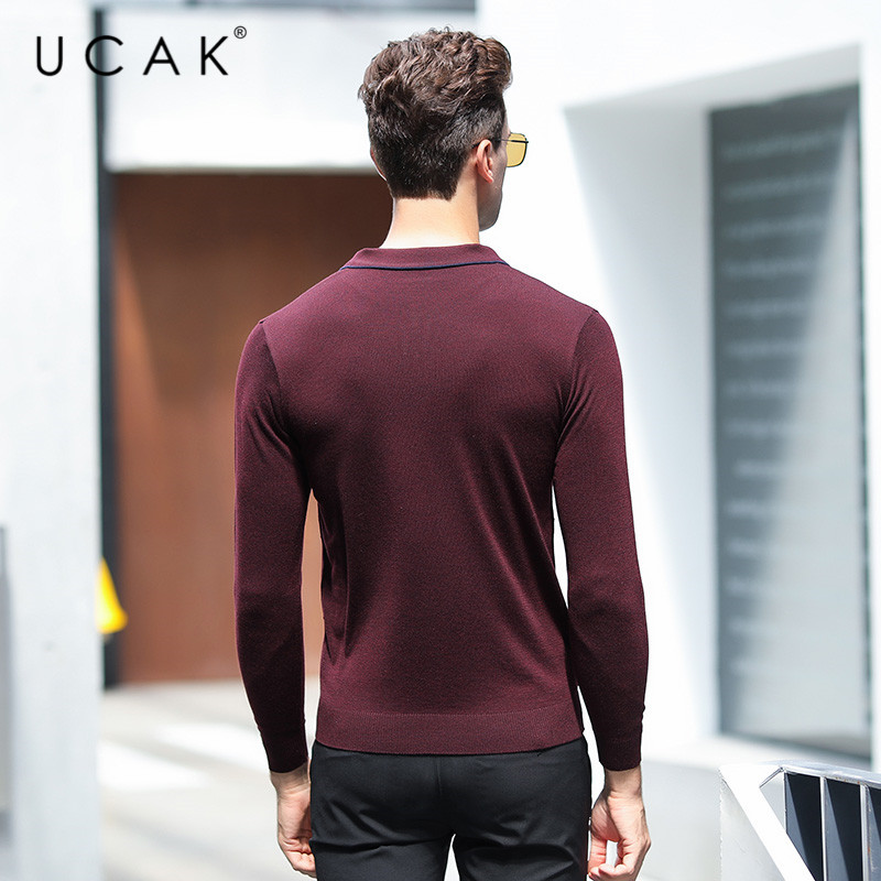 UCAK Brand Wool Sweaters Men 2020 New Arrival Turn-down Collar Striped Casual Spring Autumn Streetwear Pullover Swerater U1029