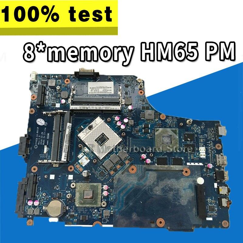 P7YE0 LA-6911P Laptop Motherboard For Acer Aspire  7750 7750G MBRMK02001 MB.RMK02.001 8*memory HM65 DDR3 100% Tested
