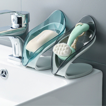 Tray Soap-Holder Shower-Plates Dish-Shelf Leaf Bathroom Plastic with Drain-Punch-Free