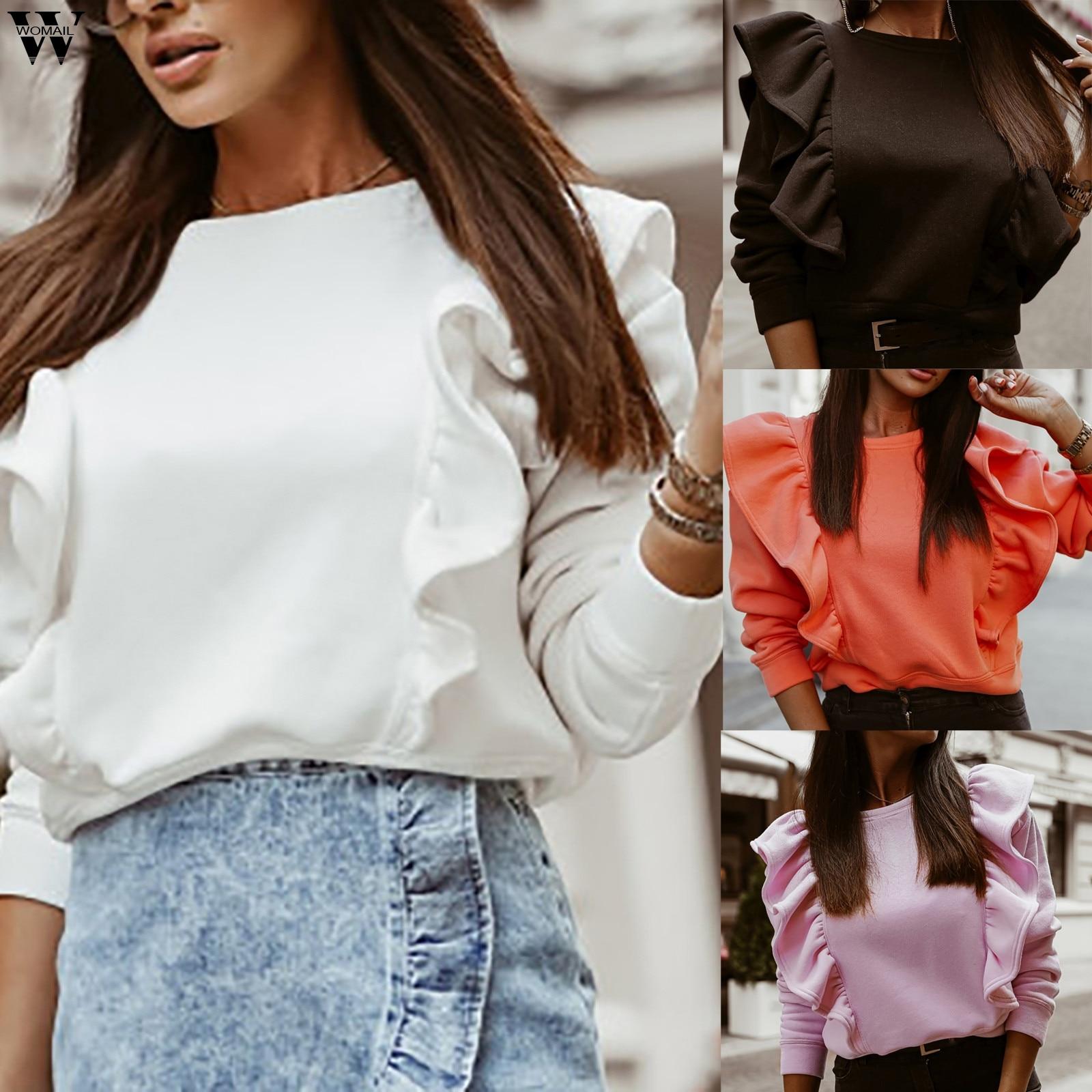 Frauen Hoodie 2020 Herbst Winter langarm Rüschen Sweatshirts Casual Solide O Neck Pullover Top Streetwear Fleece Sweatshirt