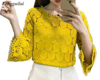 цена на Hollow Out Lace Blouses Shirts New  Autumn Korean Women Clothing Flare Sleeves O-Neck Slim Female Apricot White Tops