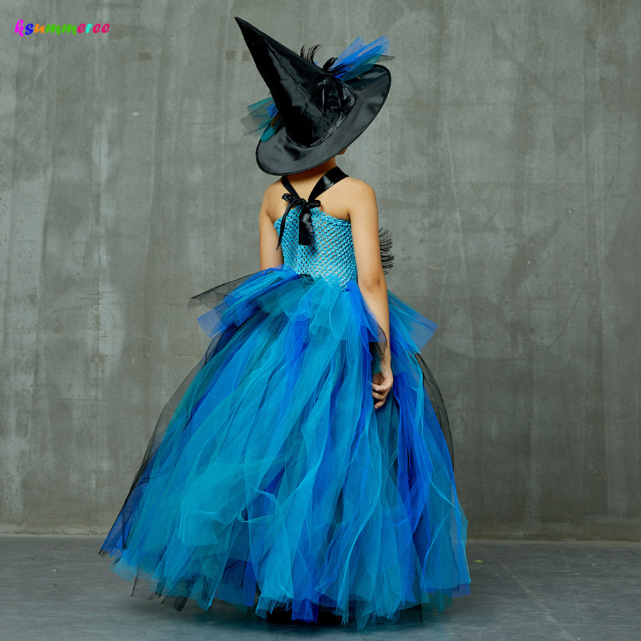 Girls Deluxe Peacock Feather Tutu Dress with Witch Hat Children Fancy Purim Pageant Birthday Party Costume Kids Prom Ball Gown 5