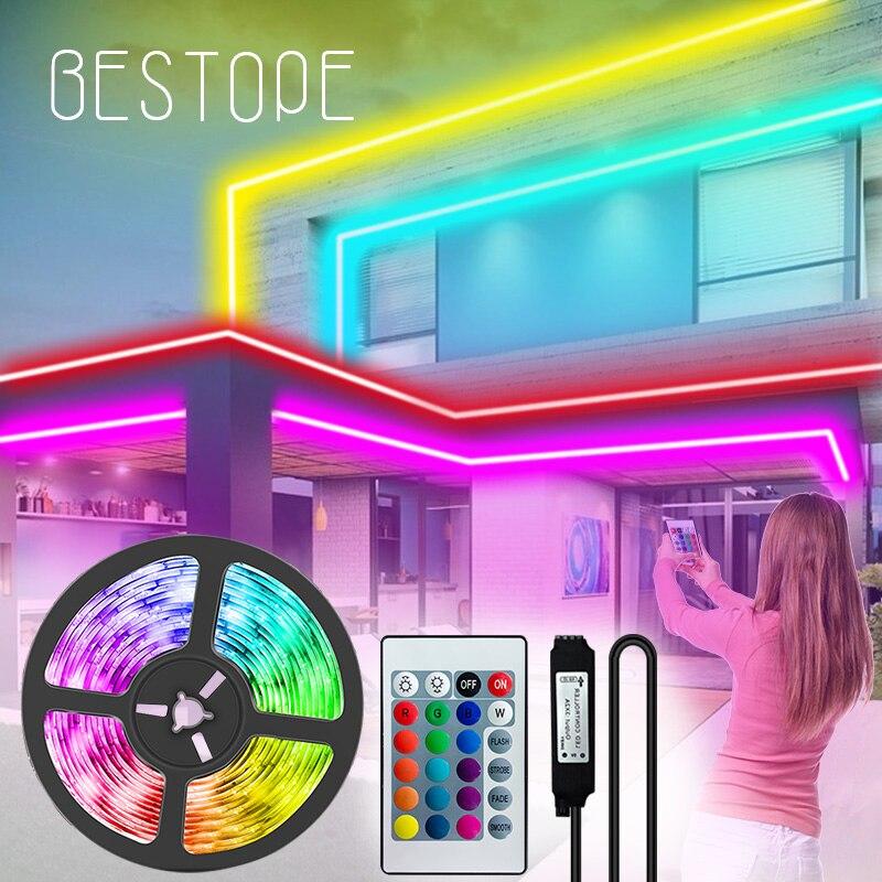 Светодиодные ленты светильник s цветная (RGB) 5050 Водонепроницаемый светодиодный светильник гибкая лента DC 12V 2835 SMD RGB ленты диод luces контроллер ...