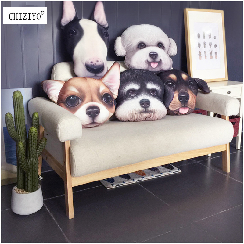 38x48cm 3D Lovely Dog Plush Car Seat Cushion Without Filler Lumbar Support Living Room Soft Creative Dog Pillow Schnauzer Teddy