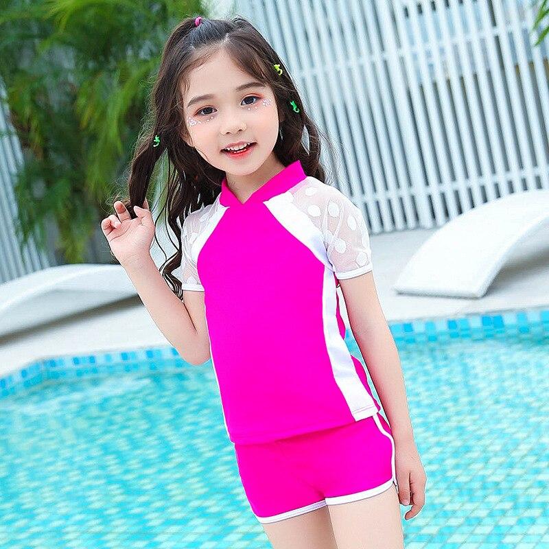 Korean-style Children's Swimwear Girl's Small Children's Children Solid Color Split Type Short Sleeve Boxers Sports Infants Swim