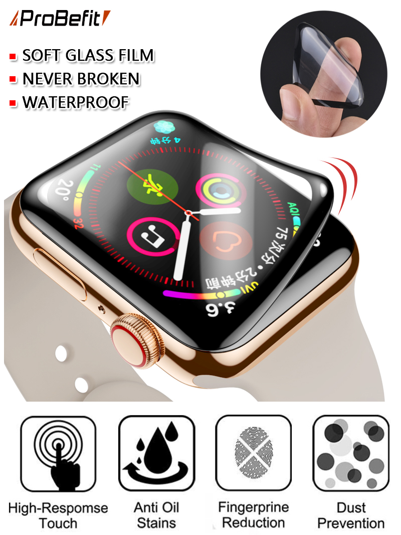 Screen-Protector Apple Watch Not-Tempered-Soft-Glass -Film Waterproof 44MM for 5/4/3
