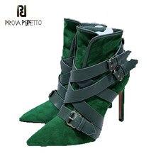 Outono inverno novo estilo de camurça de vaca couro genuíno botas de tornozelo feminino fivela de cinto decoração moda de salto alto botas curtas