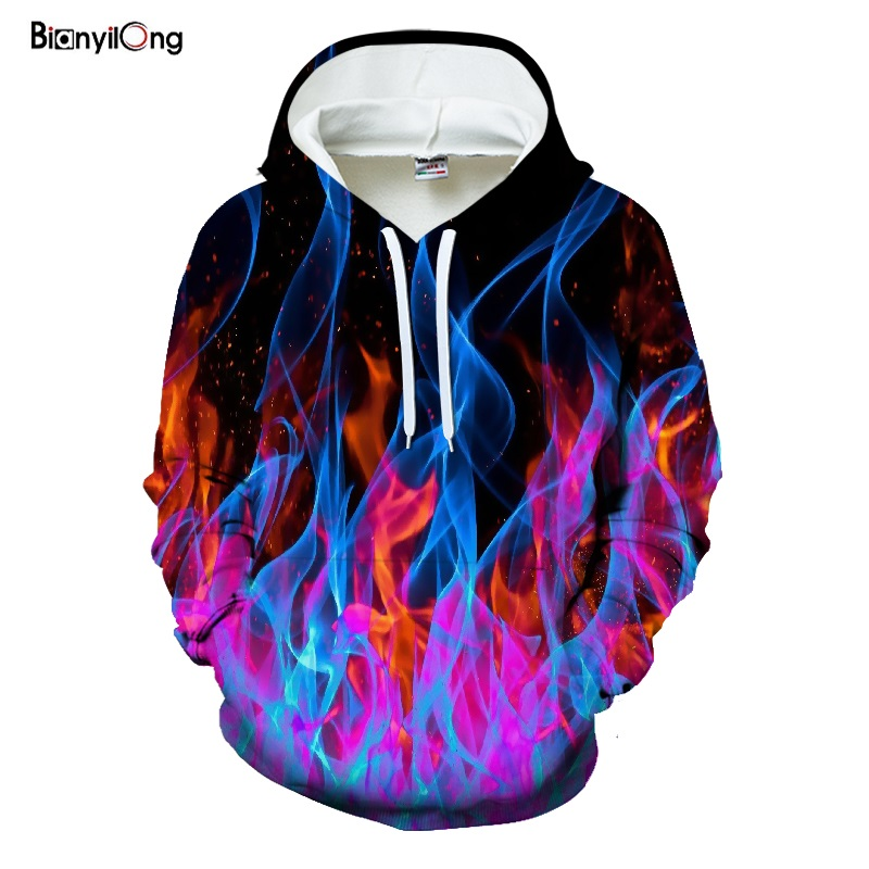 2019 New Colorful Flame Hoodies 3D Sweatshirts Men Women Hooded Loose Velvet Autumn Winter Coat Streetwear Jackets Hoodies