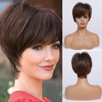 Short Straight Wigs Ombre Brown Synthetic Hair Wigs with Bangs for Black Women Daily Cosplay Heat Resistant Natural Hair Wigs