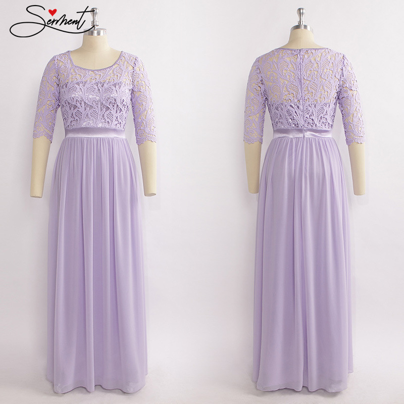 OLLYMURS New Elegant Woman Evening Gown Sweet End Elegant Purple Cut-out Sleeve Evening Gown Suitable For Formal Parties