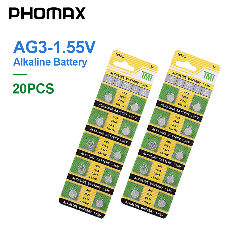 PHOMAX 20pcs/pack Button Battery LR41 CX41 384 Alkaline Battery AG3 SR41 192 392A L736 Watch Batteries Toy Calculator Battery