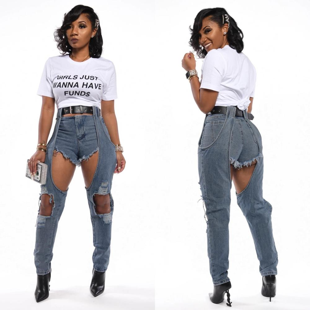 Blue Sexy Denim Jeans Womens With Holes 2020 New Spring Streetwear High Waist Pencil Pants Bottoms Wash Distressed Jean Trousers