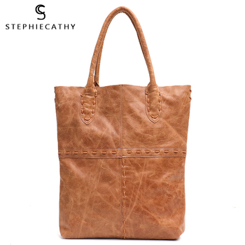 SC Retro Genuine Leather Tote Bags For Women Luxury Patchwork Ladies Natural Cow Leather Shoulder Bags Woven Design Big Handbags