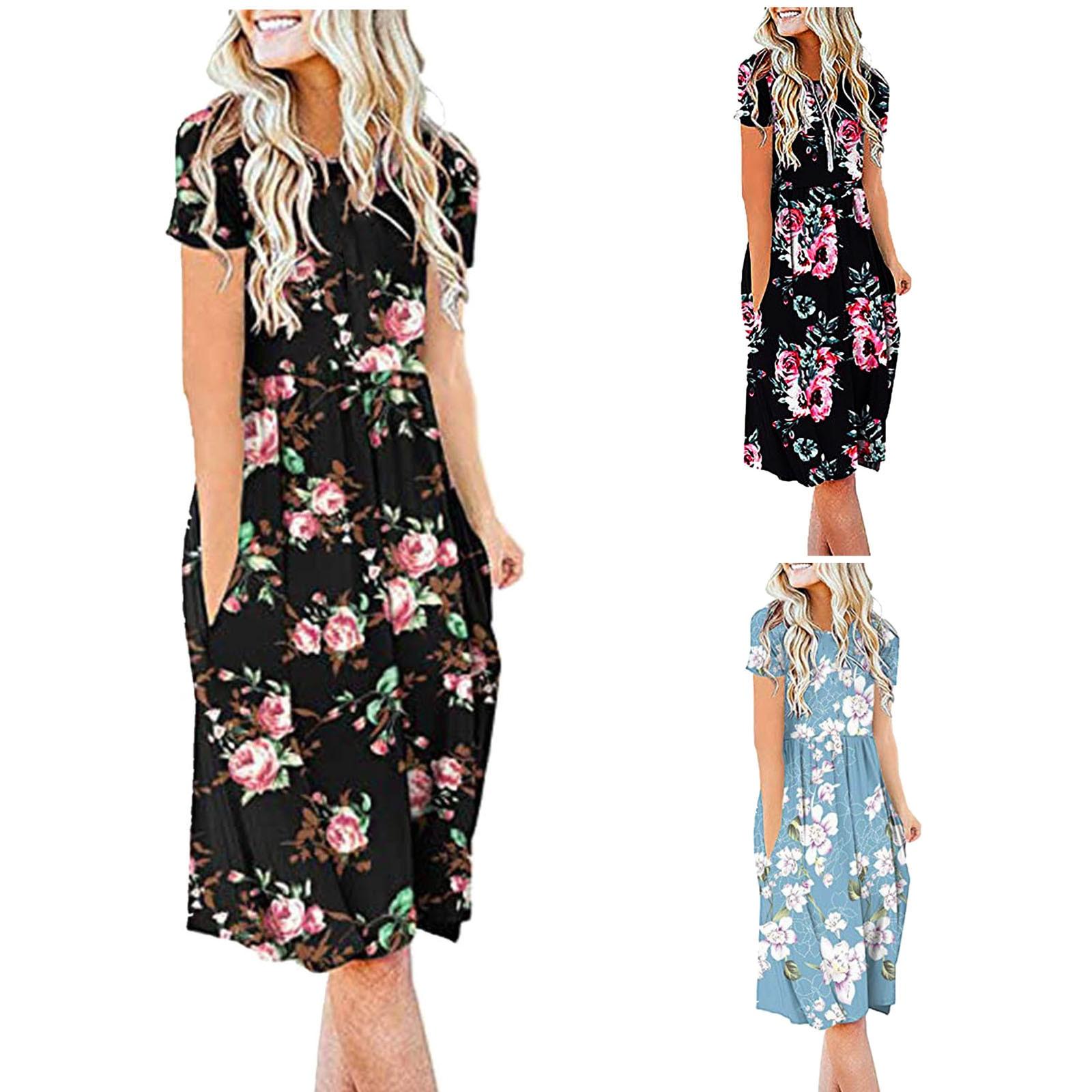 Women Summer Casual Short Sleeve Dresses Empire Waist Dress with Pockets 1