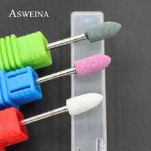 ASWEINA, 1 шт., большая головка, керамический камень, маникюрные сверла, материал Korund, 3 цвета, для чистки ногтей, электрический резак, инструменты