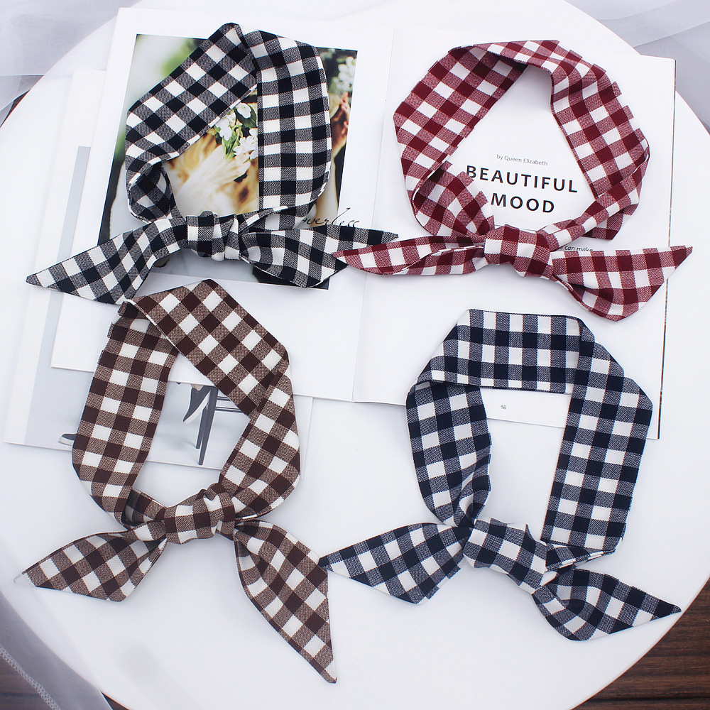 New Small Slender Narrow Long Small Silk Scarf Tied Bag Handle Scarves Small Ribbon Skinny Scarves Grid Print Silk Scarves
