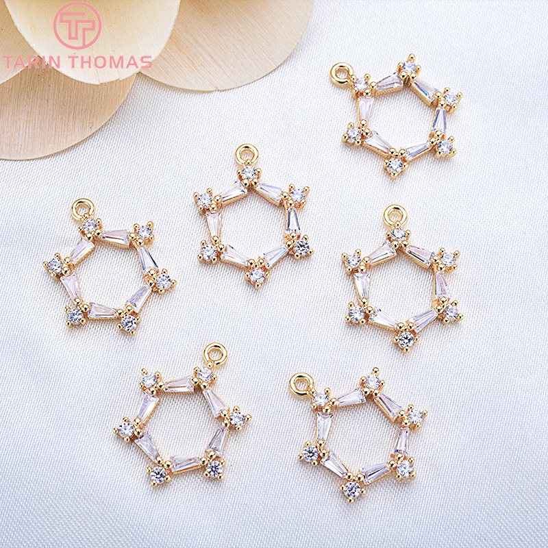 4PCS 19*14MM 24K Champagne Gold Color Brass with Zircon Six sides Charms Pendants High Quality Jewelry Accessories
