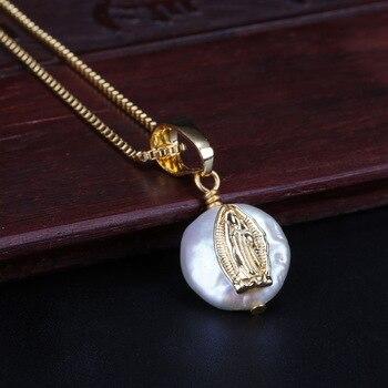 Pequeña cz pavimentada doble disco redondo encanto perla de agua dulce natural perla chic oro enlace cadena colgante gargantilla collares para mujeres