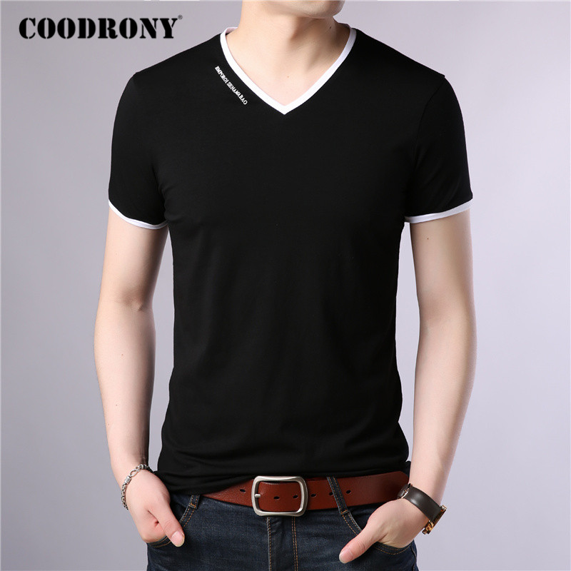 COODRONY Brand T Shirt Men Fashion Casual V-Neck Short Sleeve T-Shirt Mens Clothing Summer Cotton Tee Shirt Homme Tshirt C5080S